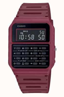 Casio Retro rekenmachine horloge | dieprode horlogeband van hars | zwarte wijzerplaat CA-53WF-4BEF