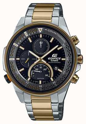 Casio Edifice slanke saffier chronograaf | tweekleurige stalen armband | zwarte wijzerplaat EFS-S590SG-1AVUEF