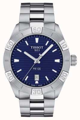Tissot Pr100 sport   blauwe wijzerplaat   roestvrij stalen armband T1016101104100