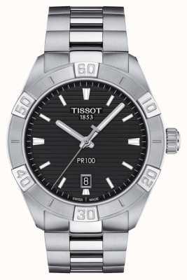 Tissot Pr100 sport   zwarte wijzerplaat   roestvrij stalen armband T1016101105100