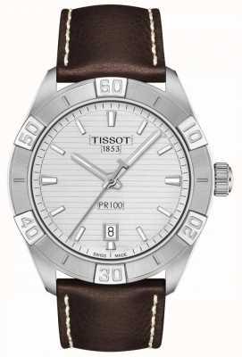 Tissot Pr100 sport   zilveren wijzerplaat   bruine lederen band T1016101603100