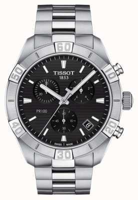 Tissot Pr100 sport   chronograaf   zwarte wijzerplaat   roestvrij stalen armband T1016171105100
