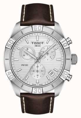 Tissot Pr100 sport   chronograaf   zilveren wijzerplaat   bruine lederen band T1016171603100