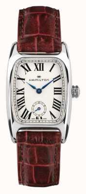 Hamilton Boulton | witte wijzerplaat | bruine lederen band H13321811