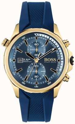 BOSS | globetrotter | chronograaf | blauwe wijzerplaat | blauwe siliconen band | 1513822