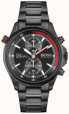 BOSS globetrotter | chronograaf | zwarte wijzerplaat | zwarte pvd stalen armband | 1513825