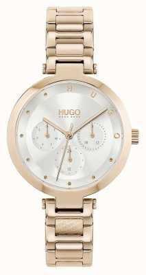 HUGO #hoop multi | roségouden stalen damesarmband | zilveren wijzerplaat 1540087