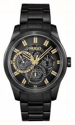 HUGO #skelet | zwarte ip-armband voor heren | zwarte wijzerplaat 1530192