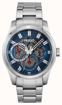 HUGO #skelet | roestvrijstalen armband voor heren | blauwe wijzerplaat 1530191