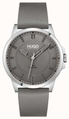 HUGO #eerste | grijze leren herenband | grijze wijzerplaat 1530185