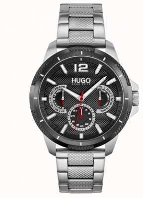 HUGO #sport | heren roestvrijstalen armband | zwarte wijzerplaat 1530195