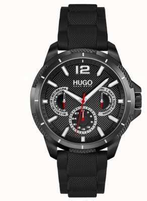 HUGO #sport | zwarte siliconen band voor heren | zwarte wijzerplaat 1530193