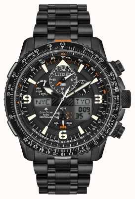 Citizen Skyhawk bij | zwarte ip stalen armband voor heren | zwarte wijzerplaat JY8075-51E