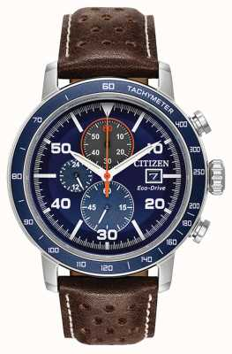 Citizen Brycen eco-drive chronograaf leren band CA0648-09L