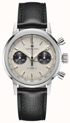 Hamilton Intramatic - mechanische chronograaf | zwarte leren band | witte wijzerplaat H38429710