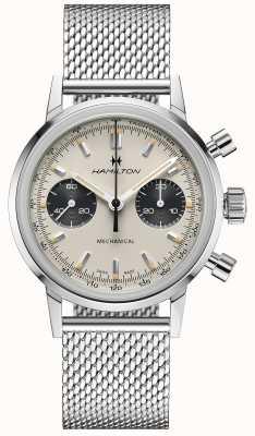 Hamilton Intramatic - mechanische chronograaf | zilveren mesh band | witte wijzerplaat H38429110