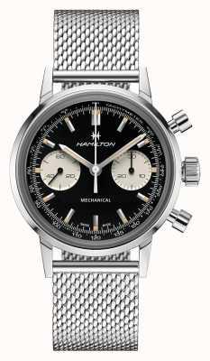 Hamilton Intramatisch | chronograaf zwarte wijzerplaat | stalen mesh armband H38429130