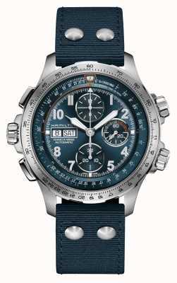 Hamilton Khaki luchtvaart x-wind | automatisch | chronograaf | blauwe wijzerplaat H77906940