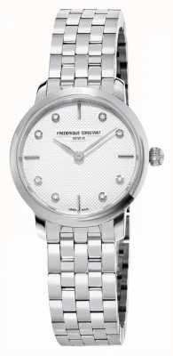 Frederique Constant Slanke diamanten wijzerplaat voor dames | roestvrij stalen armband FC-200STDS26B