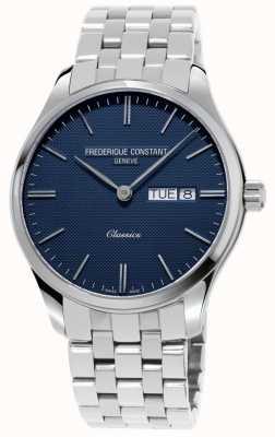 Frederique Constant Klassiek kwarts voor heren | roestvrijstalen armband | blauwe wijzerplaat FC-225NT5B6