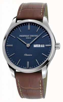 Frederique Constant Klassiek kwarts voor heren   bruine leren band   blauwe wijzerplaat FC-225NT5B6