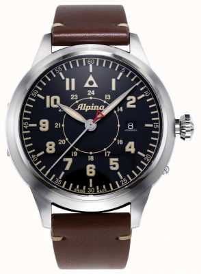 Alpina Smartimer Pilot Heritage Ltd | bruine leren band | blauwe wijzerplaat AL-525BBG4SH6