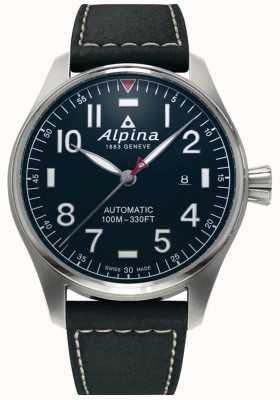 Alpina Smartimer Pilot Auto voor heren | zwarte leren band | donkerblauwe wijzerplaat AL-525NN4S6
