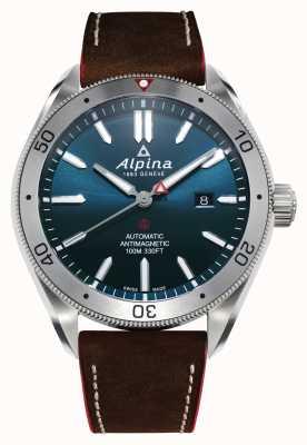 Alpina Alpiner 4 automatisch heren | bruine leren band | blauwe wijzerplaat AL-525NS5AQ6