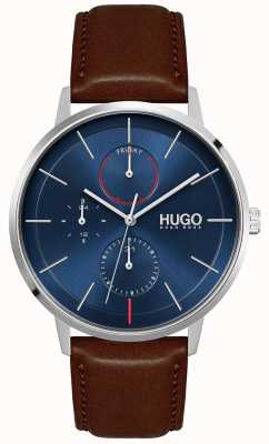 HUGO #bestaan | bruine leren herenband | blauwe wijzerplaat 1530201