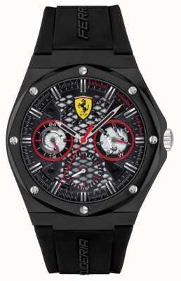 Scuderia Ferrari streven | zwarte siliconen band | zwarte wijzerplaat 0830785