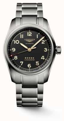 Longines Spirit titanium armband 40 mm antraciet wijzerplaat L38101536