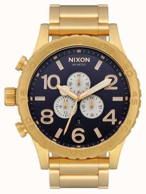 Nixon 51-30 chrono | helemaal goud / indigo | gouden ip-armband | indigo wijzerplaat A083-2033