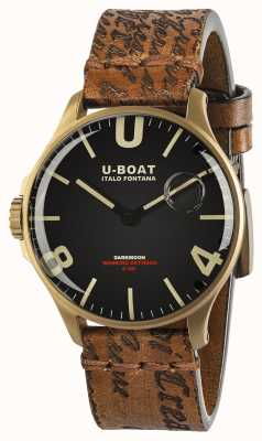 U-Boat Darkmoon 44mm zwarte IP bronzen leren band 8467/A