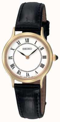 Seiko Dames witte wijzerplaat zwarte lederen band horloge SFQ830P1