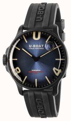 U-Boat Darkmoon 44 mm keizerlijke blauwe ipb / rubberen band 8700