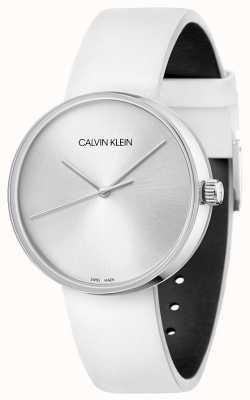 Calvin Klein Witte leren damesband | zilveren wijzerplaat KBL231L6