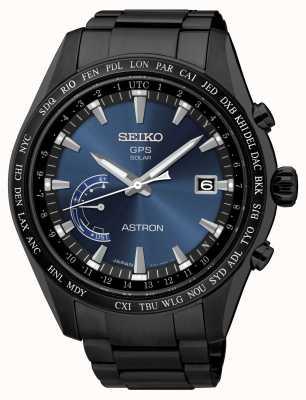 Seiko Astron gps zwarte ip vergulde roestvrijstalen blauwe wijzerplaat SSE111J1