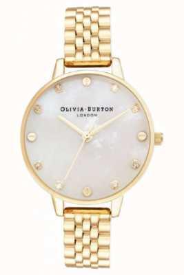 Olivia Burton Grote wijzerplaat witte dweil gouden armband dunne kast OB16SE13