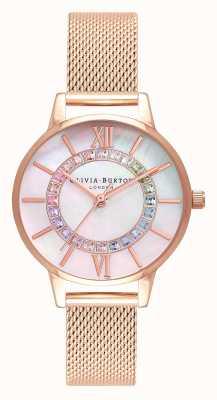 Olivia Burton Rainbow sparkle wonderland rose goud mesh OB16WD95