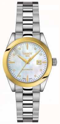 Tissot T-mijn dame | 18k goud | auto | dweilknop | roestvrijstalen armband T9300074111600