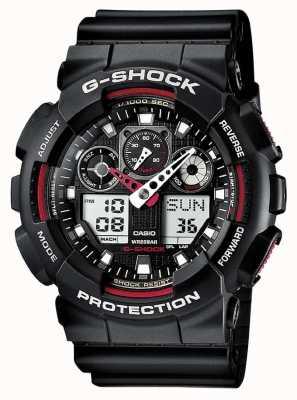 Casio G-shock chronograaf alarm zwart rood GA-100-1A4ER