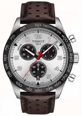 Tissot Prs 516 | chronograaf | zilveren wijzerplaat | bruine lederen band T1316171603200