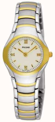 Pulsar Dames two tone roestvrij stalen armband horloge PEG406X1