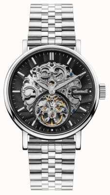 Ingersoll | the charles automatic | zwarte skelet wijzerplaat | stalen band I05804B