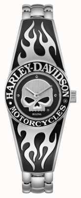 Harley Davidson Flaming Willie G Skull-wijzerplaat voor dames | armband van roestvrij staal 76L190