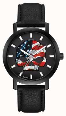 Harley Davidson Amerikaanse vlag heren Willie G | zwarte leren band 78A122