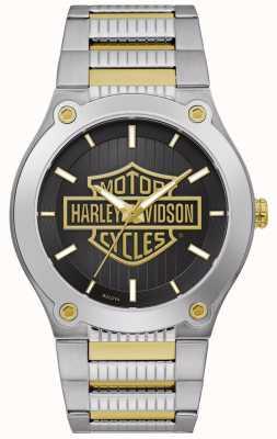 Harley Davidson Tweekleurige stalen herenarmband | zwarte wijzerplaat 78A126