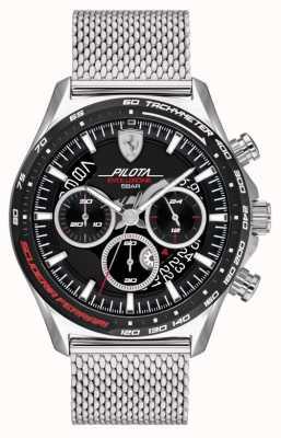 Scuderia Ferrari Pilota evo heren | zilveren stalen mesh armband | zwarte wijzerplaat 0830826