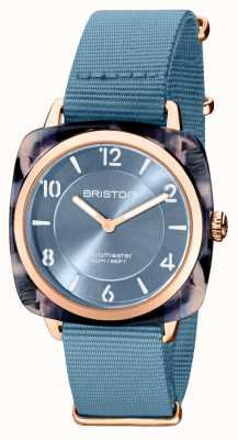 Briston Clubman chic | roségouden 36 mm blauwe wijzerplaat | blauwe nato-band 21536.PRA.UB.25.NIB