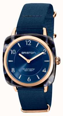 Briston Clubman chic | roségouden 36 mm marineblauwe wijzerplaat | marineblauwe nato-band 21536.PRA.UB.33.NMB